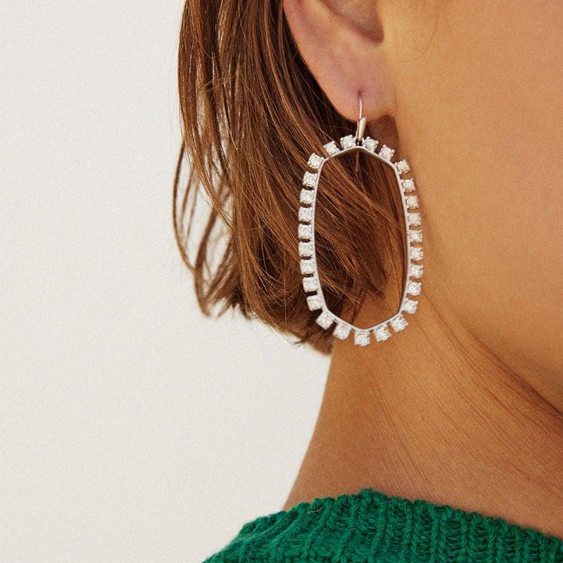 Kendra Scott Danielle Open Frame Statement Earrings In Silver NEW